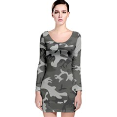 Initial Camouflage Grey Long Sleeve Velvet Bodycon Dress by Mariart