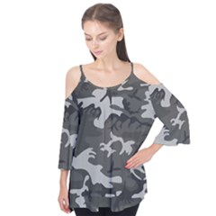 Initial Camouflage Grey Flutter Tees by Mariart