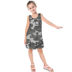 Initial Camouflage Grey Kids  Sleeveless Dress by Mariart