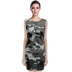 Initial Camouflage Grey Sleeveless Velvet Midi Dress by Mariart