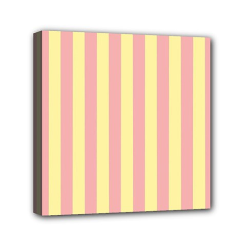 Pink Yellow Stripes Line Mini Canvas 6  X 6  by Mariart