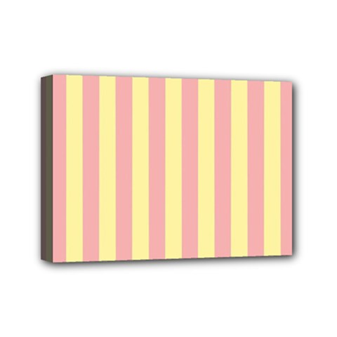 Pink Yellow Stripes Line Mini Canvas 7  X 5  by Mariart