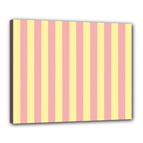 Pink Yellow Stripes Line Canvas 20  X 16  by Mariart