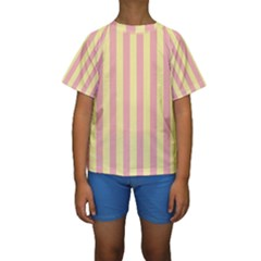 Pink Yellow Stripes Line Kids  Short Sleeve Swimwear by Mariart
