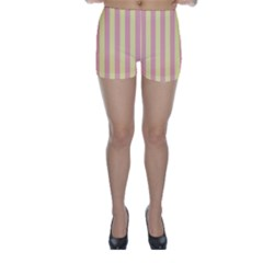 Pink Yellow Stripes Line Skinny Shorts by Mariart