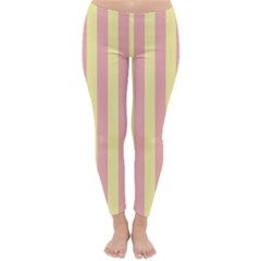 Pink Yellow Stripes Line Classic Winter Leggings by Mariart