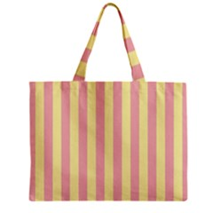 Pink Yellow Stripes Line Zipper Mini Tote Bag by Mariart