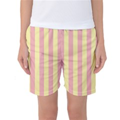 Pink Yellow Stripes Line Women s Basketball Shorts by Mariart