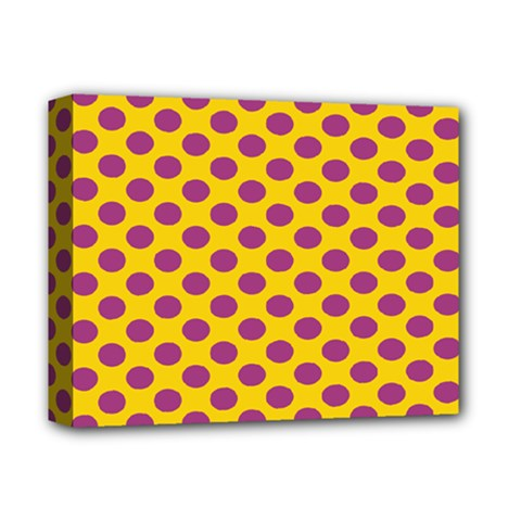 Polka Dot Purple Yellow Deluxe Canvas 14  X 11  by Mariart