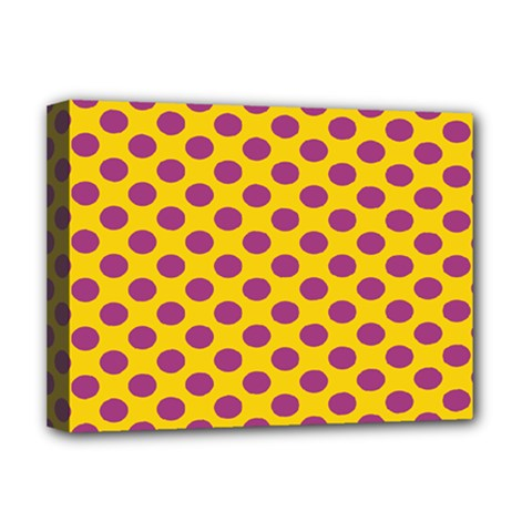 Polka Dot Purple Yellow Deluxe Canvas 16  X 12   by Mariart