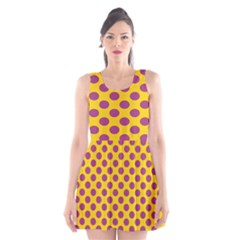 Polka Dot Purple Yellow Scoop Neck Skater Dress