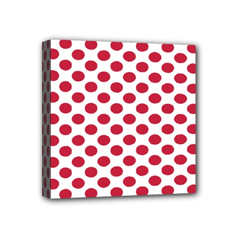 Polka Dot Red White Mini Canvas 4  X 4  by Mariart