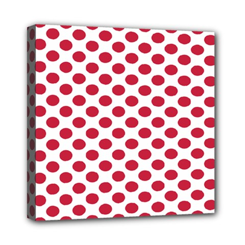 Polka Dot Red White Mini Canvas 8  X 8  by Mariart