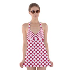 Polka Dot Red White Halter Swimsuit Dress by Mariart