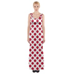Polka Dot Red White Maxi Thigh Split Dress by Mariart