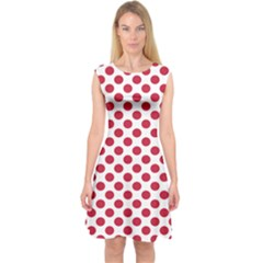 Polka Dot Red White Capsleeve Midi Dress by Mariart