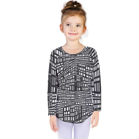 Plaid Black White Kids  Long Sleeve Tee by Mariart