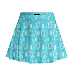 Record Blue Dj Music Note Club Mini Flare Skirt by Mariart
