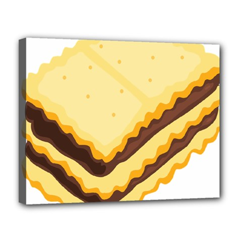 Sandwich Biscuit Chocolate Bread Canvas 14  X 11  by Mariart