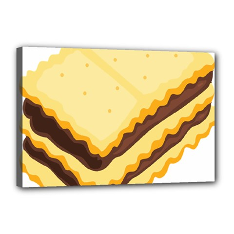 Sandwich Biscuit Chocolate Bread Canvas 18  X 12  by Mariart