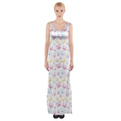 Pretty Colorful Butterflies Maxi Thigh Split Dress