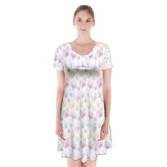 Pretty Colorful Butterflies Short Sleeve V Neck Flare Dress
