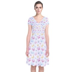 Pretty Colorful Butterflies Short Sleeve Front Wrap Dress