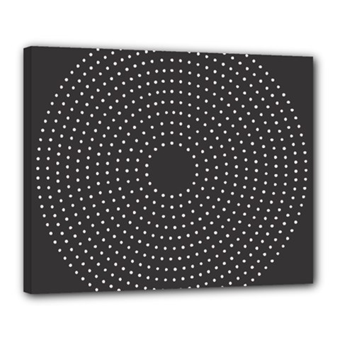 Round Stitch Scrapbook Circle Stitching Template Polka Dot Canvas 20  X 16  by Mariart