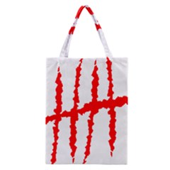 Scratches Claw Red White H Classic Tote Bag by Mariart