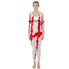 Scratches Claw Red White H Long Sleeve Catsuit by Mariart