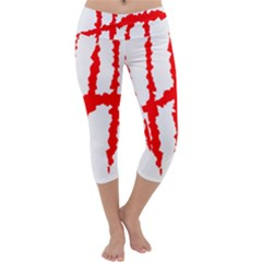 Scratches Claw Red White H Capri Yoga Leggings by Mariart