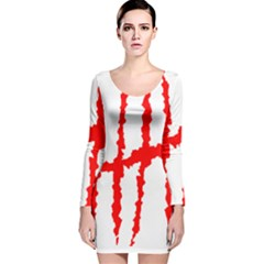 Scratches Claw Red White H Long Sleeve Velvet Bodycon Dress