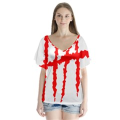 Scratches Claw Red White H Flutter Sleeve Top