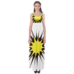 Spot Star Yellow Black White Empire Waist Maxi Dress by Mariart