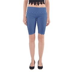 Striped  Line Blue Yoga Cropped Leggings by Mariart