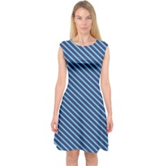Striped  Line Blue Capsleeve Midi Dress by Mariart