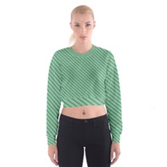 Striped Green Women s Cropped Sweatshirt by Mariart