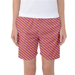 Striped Purple Orange Women s Basketball Shorts by Mariart