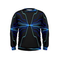 Sine Squared Line Blue Black Light Kids  Sweatshirt by Mariart