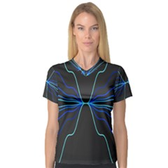 Sine Squared Line Blue Black Light Women s V Neck Sport Mesh Tee by Mariart