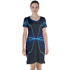 Sine Squared Line Blue Black Light Short Sleeve Nightdress by Mariart