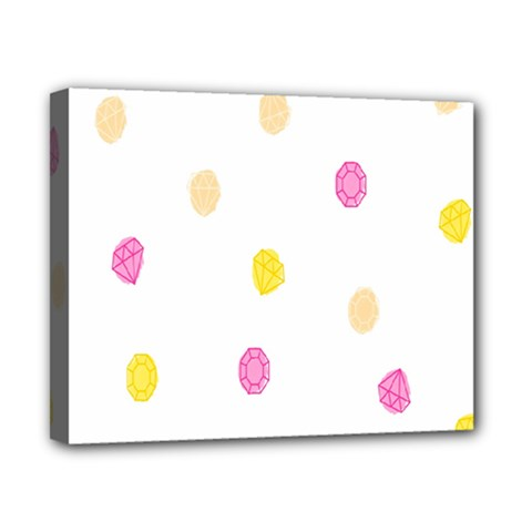 Stone Diamond Yellow Pink Brown Canvas 10  X 8  by Mariart