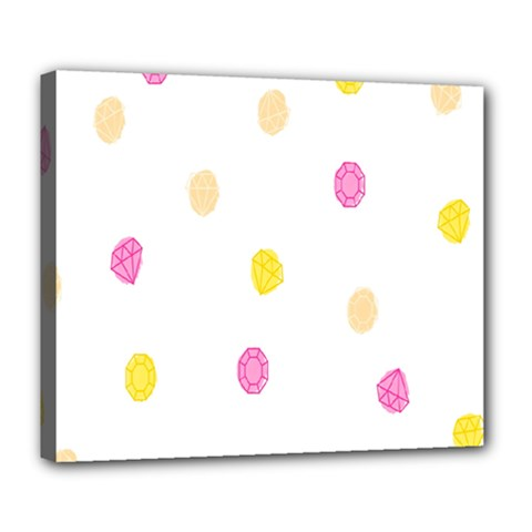 Stone Diamond Yellow Pink Brown Deluxe Canvas 24  X 20   by Mariart