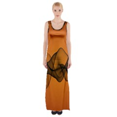 Transparent Waves Wave Orange Maxi Thigh Split Dress by Mariart