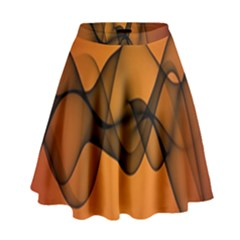 Transparent Waves Wave Orange High Waist Skirt by Mariart