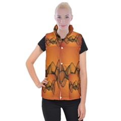 Transparent Waves Wave Orange Women s Button Up Puffer Vest by Mariart