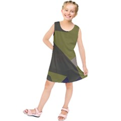 Unifom Camuflage Green Frey Purple Falg Kids  Tunic Dress by Mariart