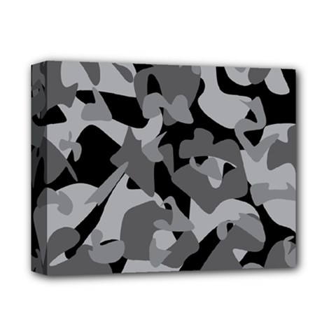 Urban Initial Camouflage Grey Black Deluxe Canvas 14  X 11  by Mariart