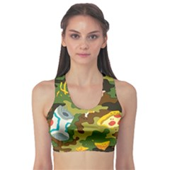 Urban Camo Green Brown Grey Pizza Strom Sports Bra by Mariart
