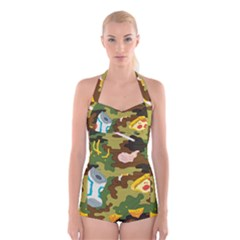 Urban Camo Green Brown Grey Pizza Strom Boyleg Halter Swimsuit  by Mariart